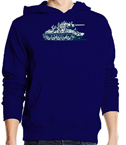 Luckyprint Russian Tank Military Old Graphic Navy Pullover Hoodie L -