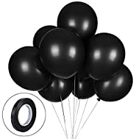 100 Pack Black Balloons, 12inches Premium Helium Quality Black Balloons Black Shiny Latex Balloons