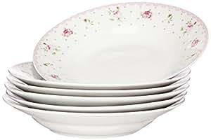 Novastyl 7039193 Lot de 6 Assiettes Creuses Mayfair Porcelaine Rouge/Vert 20,2 x 18 x 3,8 cm