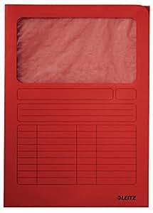 LEITZ Pqt de100 Chemises Coins à fenêtre pour A4 carton 160g Imprimé Rouge