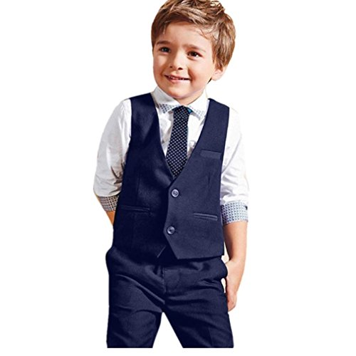 Kleinkind scherzt, Kobay Baby-Jungen-Herr-Hochzeits-Klage-Hemden + Weste + lange Hosen + Bindung Kleider 1Set (3Jahre, Blau) (Jungen Kleid Shirt Für)