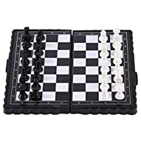 Kaemma Portable Folding Magnetic Pocket Plastic Chess Chess Entertainment For Party(Color:black+white)