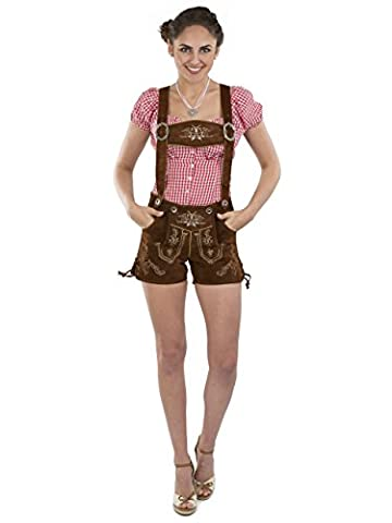 Damen Lederhose Almglück kurz - Hotpants Trachtenlederhose braun Schöneberger Trachten