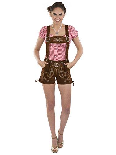 Damen Lederhose Almglück kurz - Hotpants Trachtenlederhose braun Schöneberger Trachten (36, mittelbraun)
