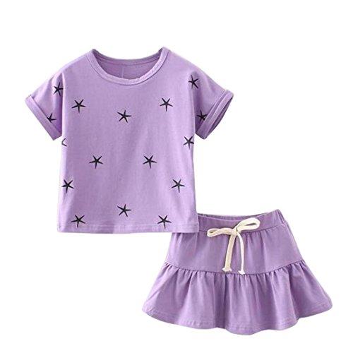 Oyedens SchöN Kinder MäDchen Niedlich Sternmuster Mit Kurzen ÄRmel T Shirt + Minirock Set Outfits (3/4T, Lila)