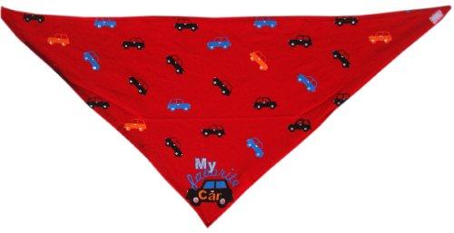 Halstuch Babytuch Dreieckstuch Kopftuch Spucktuch mit Klettverschluss- Rot mit Auto -