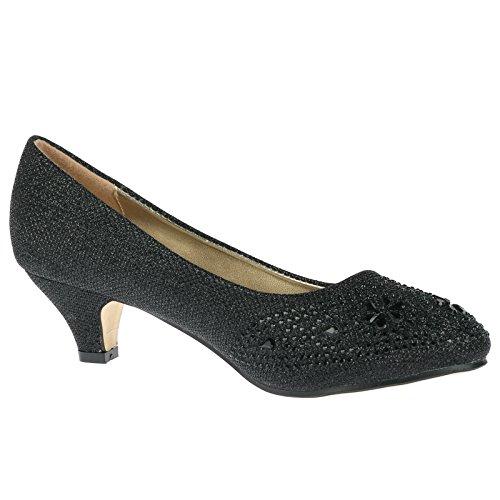 ByPublicDemand Sabrina Chaussures de soirée avec strass pour femmes talons moyens Noir irisé