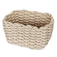 BIGBOBA Hand-woven Storage Basket, Cotton Rope Storage Basket, Desktop Cabinet Storage Basket, Sleek Minimalist, Sundries Basket, Home Organizer Decoration, 21 * 13 * 14cm