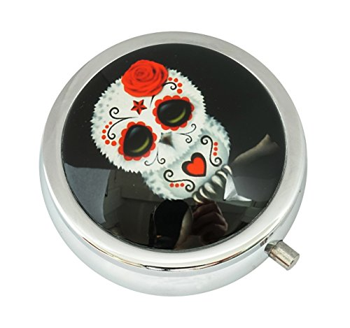 WuCong Sugar Skull Eule Custom Fashion Design Glas Rund Pillendose Western Medizin Tablet Halter Dekorative Box