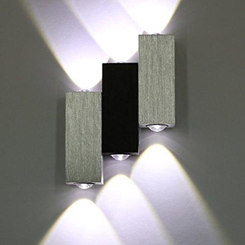 Lightess Moderne 6W LED Wandleuchte Innen Sconce Up und Down Wandleuchten Spot Light Perfekt für Wohnzimmerleuchten Schlafzimmer Lampen Flur LED Nachtlicht, Kaltes Weiß