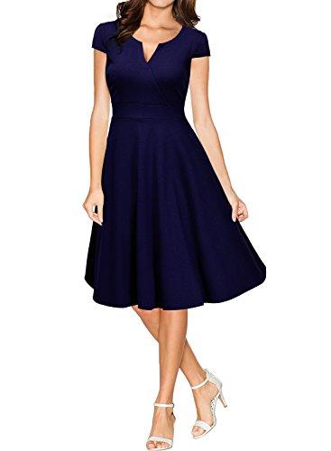 Miusol Damen 50er Vintag Style Swing A-Linie Kleid Dunkelblau Gr.XL