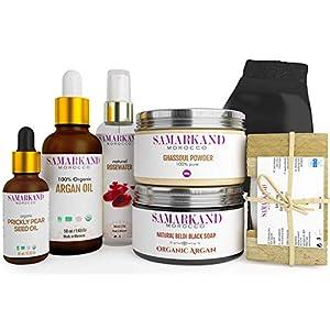 Set Hammam Marroquí de Exfoliación e Hidratación Corporal con Jabón Negro Natural, Aceite de Argán y Aceite de Higo…