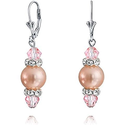 Bling Jewelry Rosa South Sea Pearl cristallo Sterling leverback orecchini 10 (10 Millimetri Sintetico Perle)