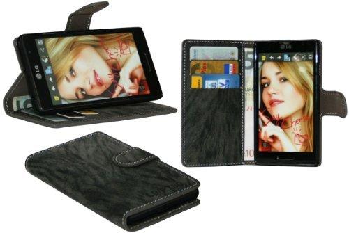 LG P760 Optimus L9 Buchtasche Hülle Case Tasche Wallet BookStyle mit STANDFUNKTION Anthrazit @ Energmix
