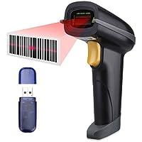 Escáner de Codigo de Barras, SLYPNOS - Escáner láser + 2.4G Receptor inalámbrico + cable USB, lector de código de barras automático recargable para Apple iOS, Android, Windows, Mac OS (2.4GHz)