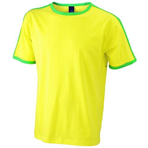 JAMES & NICHOLSON Herren T-Shirt, Einfarbig Jaune et vert