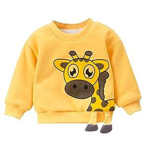 bebé niño niña Sudadera Manga Larga Invierno Primavera Dibujos Animados Jirafa Animales Jersey Camiseta 10