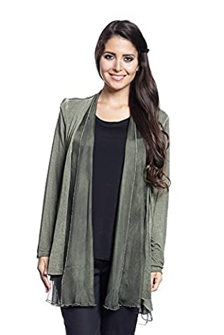 Abbino 2802 Blazer Jacket for Woman Lady - Made in Italy - 9 Colours - Womans Spring Summer Autumn Classic Long Sleeves Sale Short Casual Freetime Solid Stylish Outwear Silk - Cachi Green - One Size