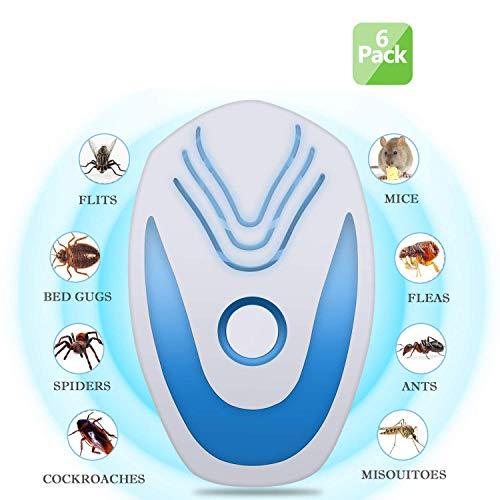 Adoudou Ultraschall-Pest-Repeller-Elektronischer Stecker in Mücken Abweisender Kontrolle-Indoor-Schädlingsbekämpfung Lehnt Mäuse Ratte Spinne Roach Rodent Fly Ant und Insekten 6 Packung -