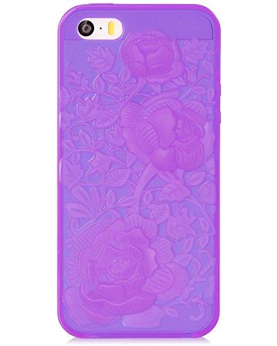 Fosmon DURA TPU Entwurf Case Cover hülle für iPhone 5 / 5s / SE - 3D Rose - Schwarz violett