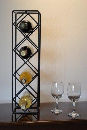 J & J Draht Diamond 4-bottle Wein Rack (Rack Vier)