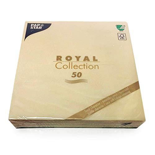 Tissueservietten champagner Royal Collection 1/4-Falz, Größe 40 x 40 cm, 1 X 50er Pack ()