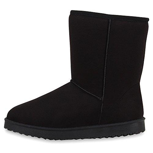 Stiefelparadies Warm Gefütterte Stiefel Damen Stiefeletten Schleifen Satinoptik Schuhe Bequeme Schlupfstiefel Kuschelig Warme Boots Flandell Schwarz Avelar
