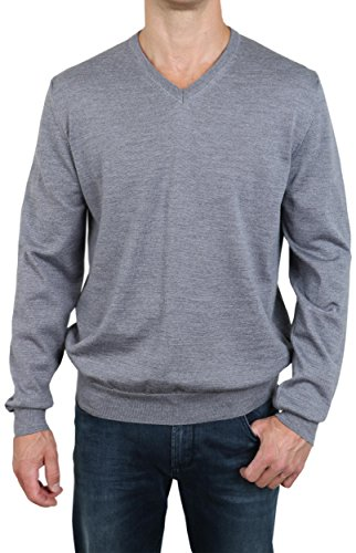 OLYMP Body Fit Pullover V-Ausschnitt Merino/Seide mittelgrau Mittelgrau
