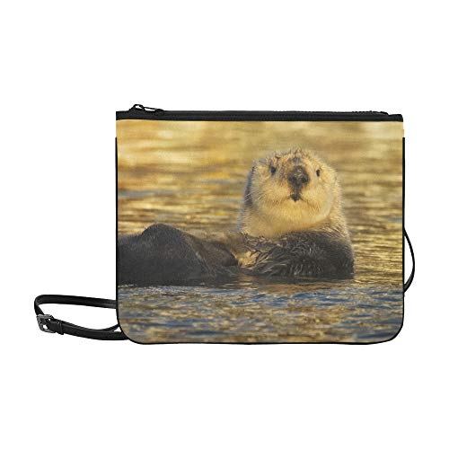 WYYWCY Netter lustiger Otter, der im Fluss-Muster kundenspezifisch hochwertige Nylon-dünne Handtasche Umhängetasche Umhängetasche schwimmt -