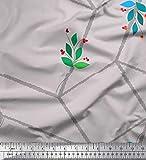 Soimoi Gris Mousse Georgette en Tissu Feuilles, Baies Rouges et Cube Labyrinthe geometrique Tissu a Coudre Imprime par Metre 42 Pouce Large