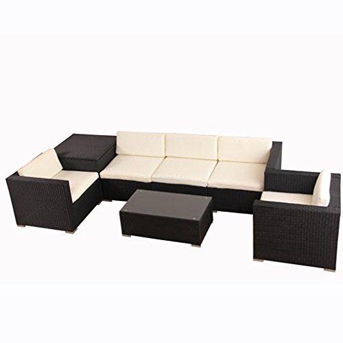 Polyrattan lounge schwarz sofa  POLY RATTAN Lounge Gartenset Schwarz Sofa Garnitur Polyrattan ...