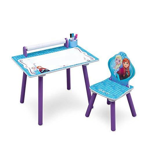 Delta Children TT89532FZ Bureau avec Rouleau de Coloriage Intégré Motif La Reine des Neiges Bois Bleu 59,69 x 44,45 x 43,18 cm