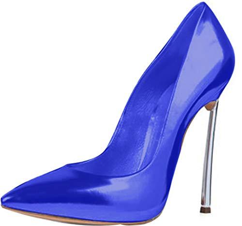 Calaier Donna Linjie Punta-Toe 12CM Scivolare su Scarpe col Tacco Calzature, Blu, 38.5