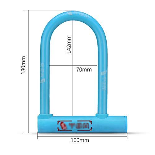 XUE-1 U Lock-Bike mit gratis Schloss-Halterung und 2 umkehrbaren Schlüsseln, leicht und tragbar für Fahrrad, Dreirad, Roller, Tor 18x10cm Blue 2 - Lock U-bike