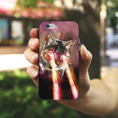 Apple iPhone 5s Housse Étui Protection Coque Chat Laser Chat Housse en silicone noir / blanc