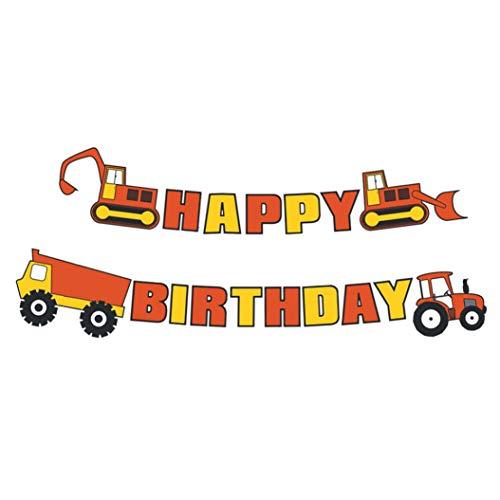 djryj Vorteilliches 1 x Happy Birthday Banner Bagger Transport LKW Girlande Flaggen Kinderparty Deko für Zuhause Dekoration H01 (Birthday Lkw-happy)