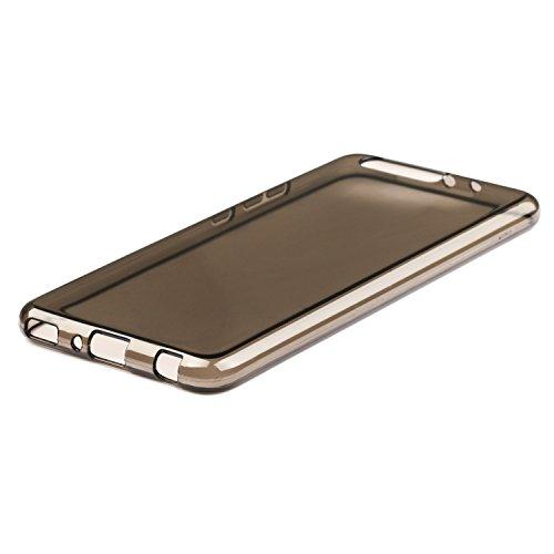 Coque Huawei P10 Plus + Protecteur d'écran, EUGO Clair transparente TPU Silicone Housse Etui Coque Pour Huawei P10 Plus + 2 x Huawei P10 Plus Protecteur d'écran Transparente Transparent Noir