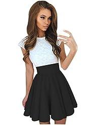FEITONG De las mujeres Cordón Fiesta Cóctel Mini vestido Señoras Verano Manga corta Vestidos de Skater (Negro, M)