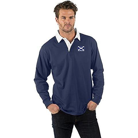 Escocia Bandera de Manga Corta Camisa de Rugby - Scotland Thistle Short Sleeve Rugby Shirt - XS to 2XL
