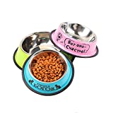 Dog Bowls- Non Skid with Natural Rubber Base Variety of Colors Food Grade Stainless Steel Dog Food and Water Bowls for Travel,Pink,4