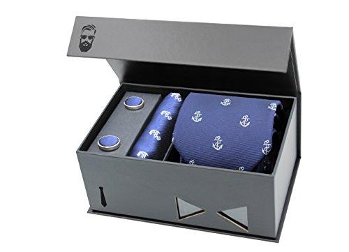 Schlipster Krawatten-Set - Premium Box mit Krawatte, Einstecktuch und Manschettenknöpfen (Blau Anker)
