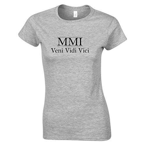 MMI Veni Vidi Vici Geburtsjahr 2001 16. Geburtstags-Geschenk-Geschenk-Andenken In der römischen Zahlen aus Frauen T-Shirt Grey