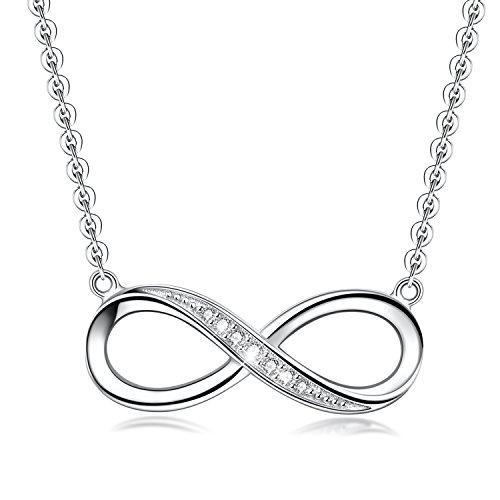 Unendlichkeit Halskette mit Anhänger für Frauen, vergoldete 925 Sterling-Silber Liebes- und Herz-Halskette