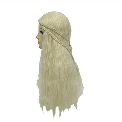 JL Lange Lockiges Haar Perücke Anime Song Power Spiel von Eis und Feuer Daenerys Targaryen Drachen Mutter Perücke (Feuer Und Eis Halloween)