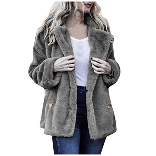 Xmiral Mantel Damen Plüsch Flaumig Einfarbig Umlegekragen Strickjacken Jacke mit Tasche Slim Fit Winterjacke Damenmantel(Grau,S)