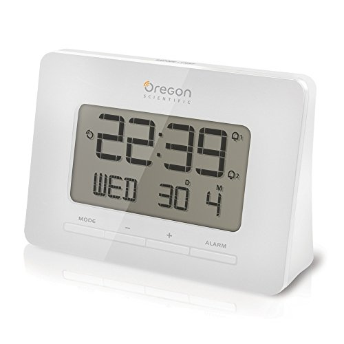 Oregon Scientific RM938-W - Reloj de sobremesa, radio controlado, con alarma, color Blanco