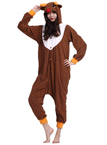 Jumpsuit Onesie Tier Karton Fasching Halloween Kostüm Sleepsuit Cosplay Overall Pyjama Schlafanzug Erwachsene Unisex Lounge Kigurumi Elch for Höhe 140-187CM (Für Erwachsene Elch-kostüm)
