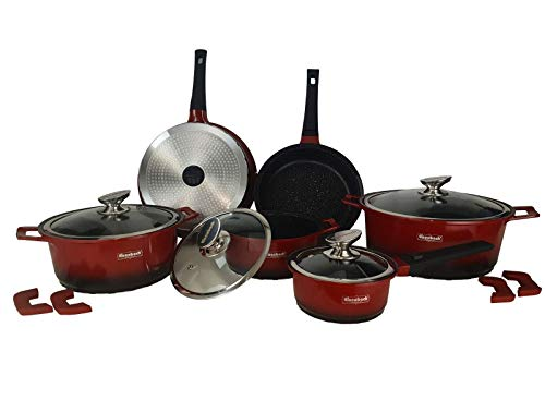 Eisenbach 14 TLG Topfset Kochtopfset Pfannenset mit Marmor-Keramik-Antihaft-Beschichtung induktionsgeeignet Töpfe Kochtöpfe Pot Set (Rot-Schwarzer Verlauf)