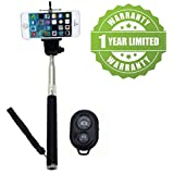 Exosis Handheld Extendable Selfie Monopod Stick with Bluetooth Remote Wireless Shutter for iPhone and Android (Assorted Colour)