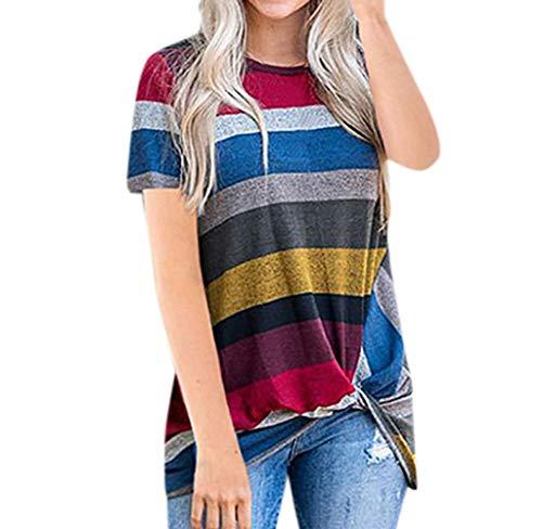Wouke Damen Casual Stripe Short Sleeve T-Shirt Twist Knoten Tuniks Tops Blusen - Rot - Mittel - Schwarzes Jersey, Drape-Ärmel Top